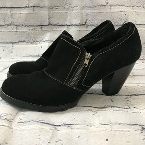Black Leather Zippered Ankle Booties Heeled Suede